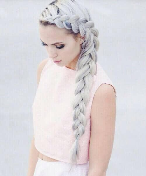 Silvery Waterfall Braid with Perfect Style