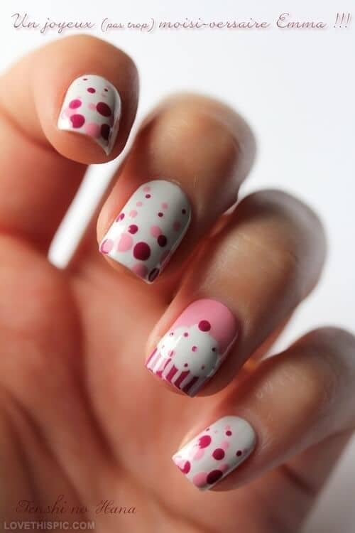 Pink, Red, and White Cupcake Nails