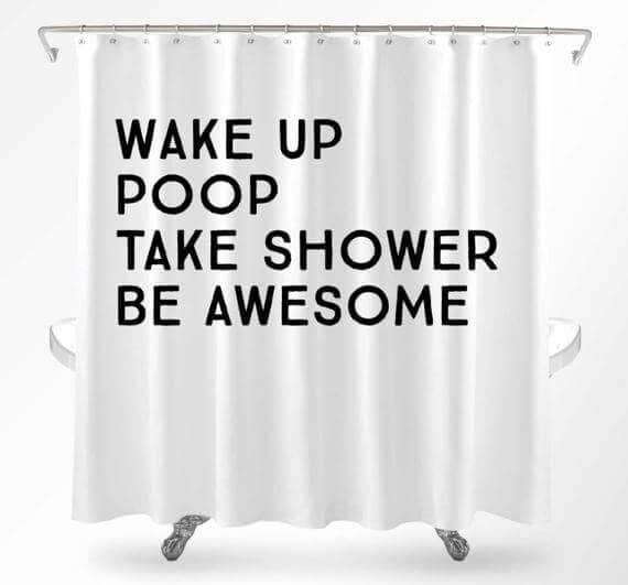 Hilarious Quote Minimal Shower Curtain Design