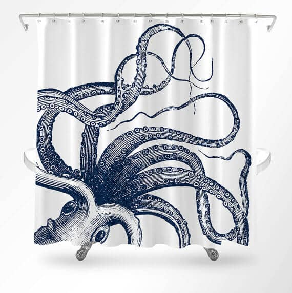 Octopus Line Drawing Shower Curtain