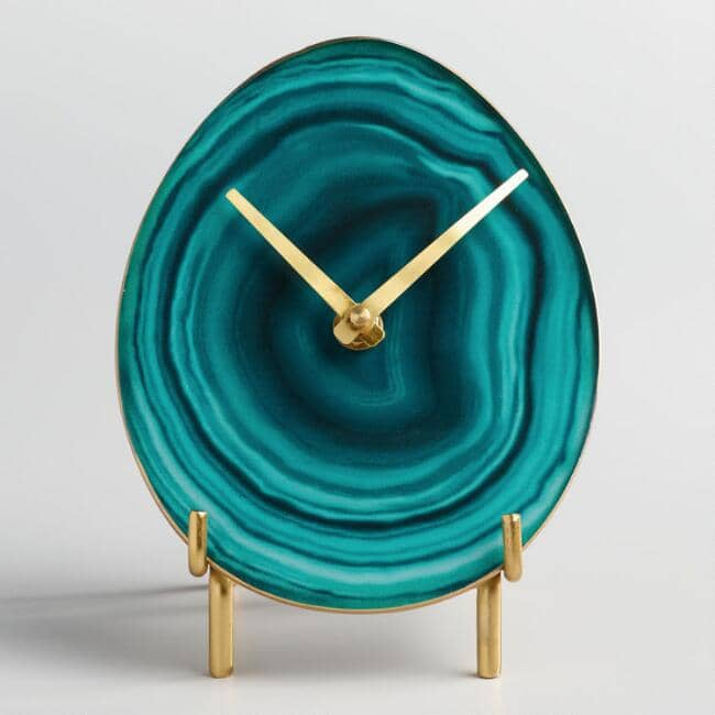 Stunning Faux Agate Table Clock