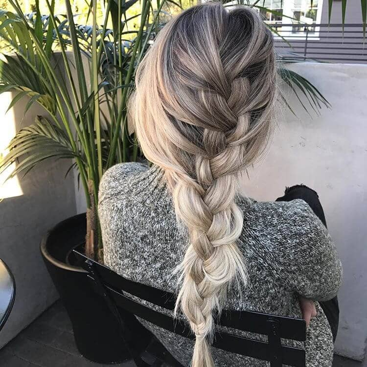 Soft Blonde Balayaged French Braid