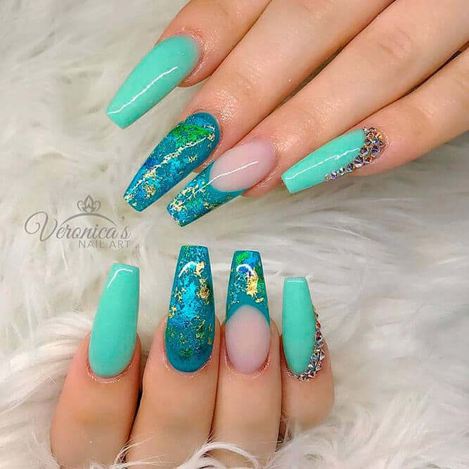 Mermaid Inspired Turquoise Manicure