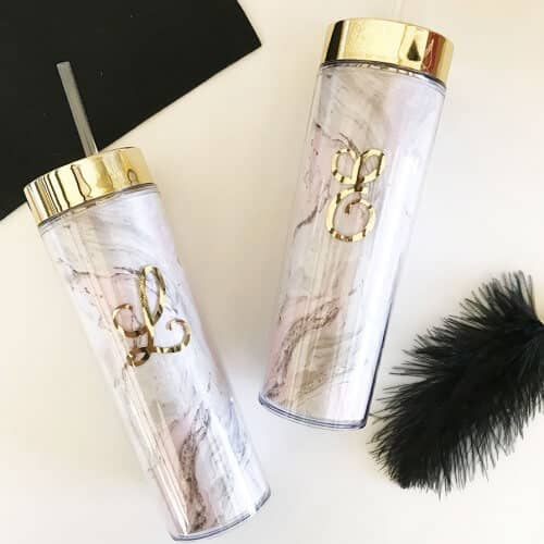 Personalized Elegant Gold and Marble Tumbler