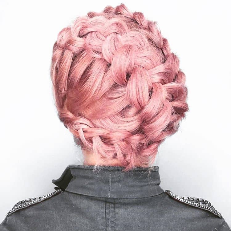Azalea Hair Color in Braided Up-do
