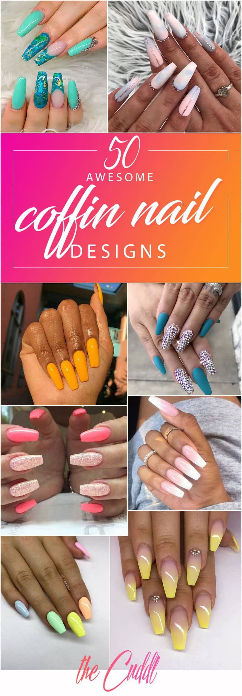 50 Awesome Coffin Nails Designs You\u0027ll Flip For in 2019