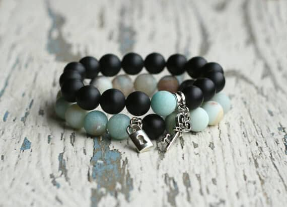 Cute Black and Turquoise Matching Couple's Bracelet