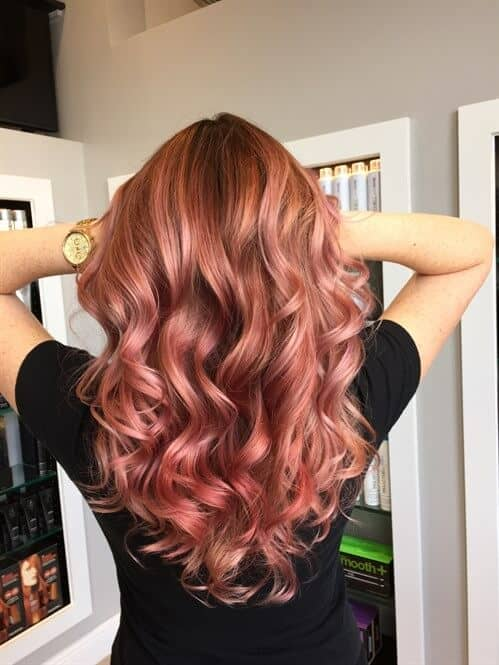 Red Hair With Gorgeous Pink Balayage Highlights