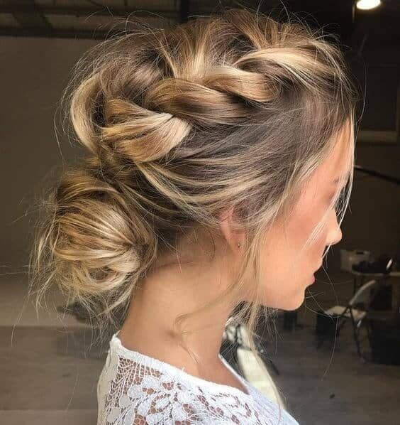 Gorgeous Low Bun and Dutch Braid Combo