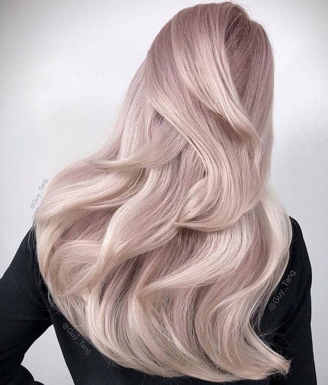 White Blonde and Rose Gold Hair Color