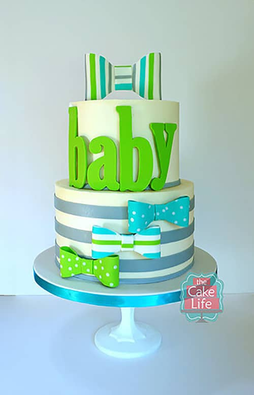 "Here's a ""Bowtiful"" Baby Shower Cake"