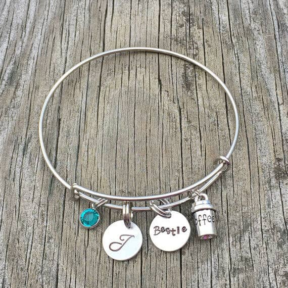 Beautiful Birthstone and Initial Charm Bracelet