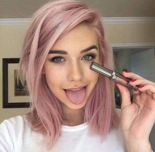Soft Rose Gold Lob Hair Color Ideas