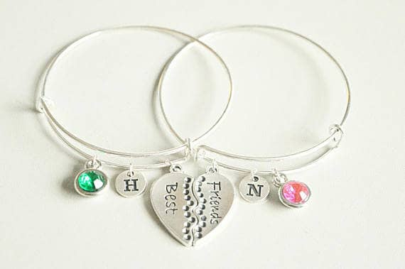 Cool Girly Friend Initial Charm Bracelets