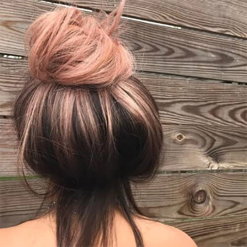 Natural Blonde Ombre Bun, Rose Gold Tips