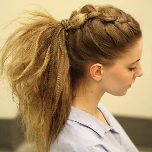 Dutch Braid and Pony Tail Combo