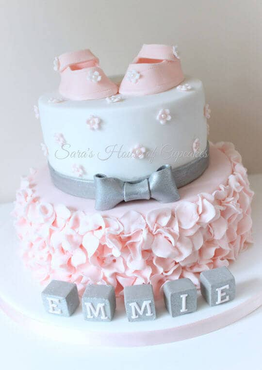 Cute and Ruffly Baby Girl Cake