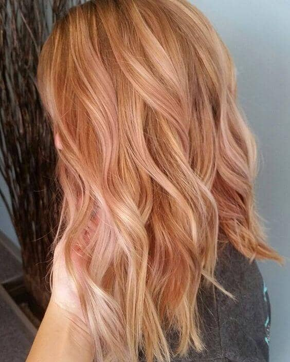 Light Strawberry Blonde With Subtle Rose Balayage