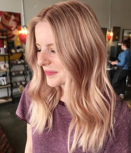 Simple, Work-Safe Blonde With Rose Gold Lowlights