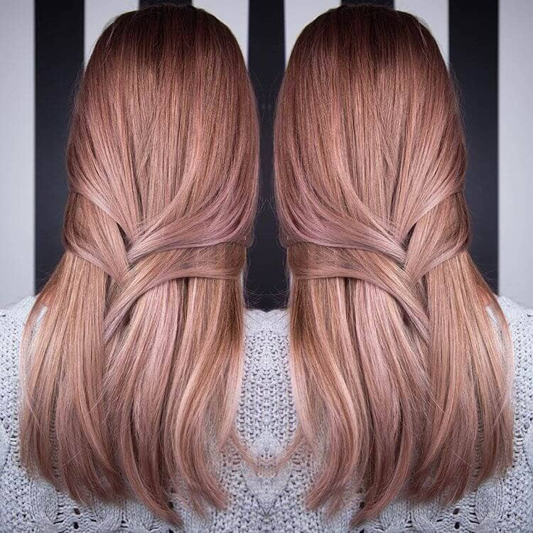 Perfectly Straight Strawberry Rose Blonde Hair Color