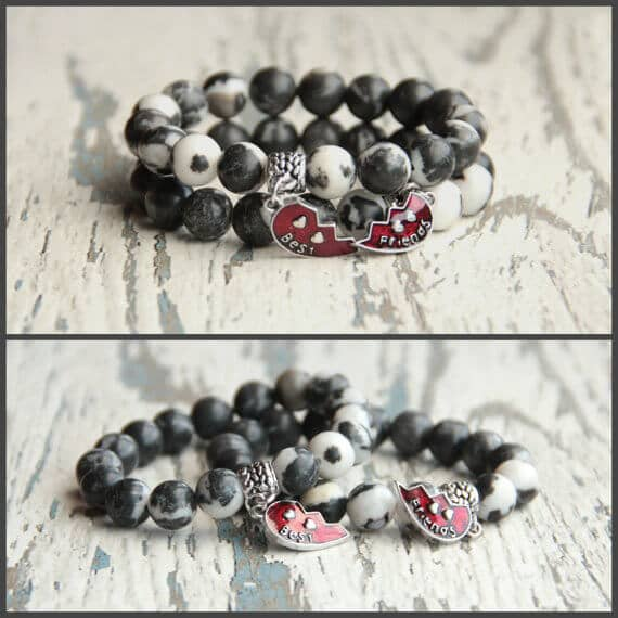 Black and White Half Heart Charm Bracelet