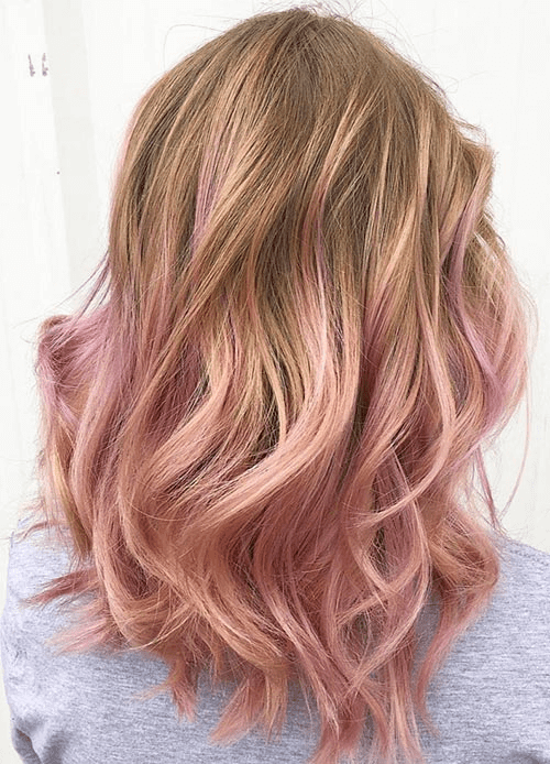 Rose Gold Soaked Ombre Tips Hair Color