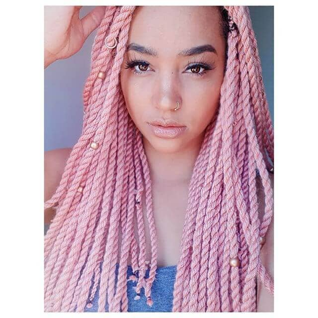 Pink Crochet Twist Style With Hair Jewelry