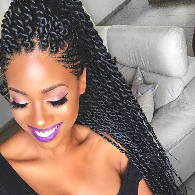 Long, Shiny Twisted African Braid Style
