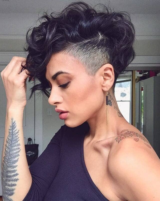Deep Edgy Pixie Cut Curly Hair