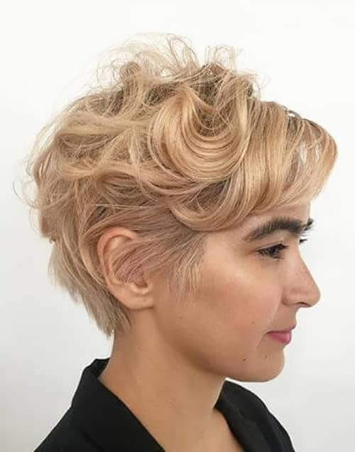 Soft Blond Pixie Cut With Bold Eyebrows
