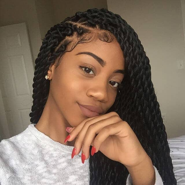 Cute Semi-Gloss Twisted Black Hair Braids