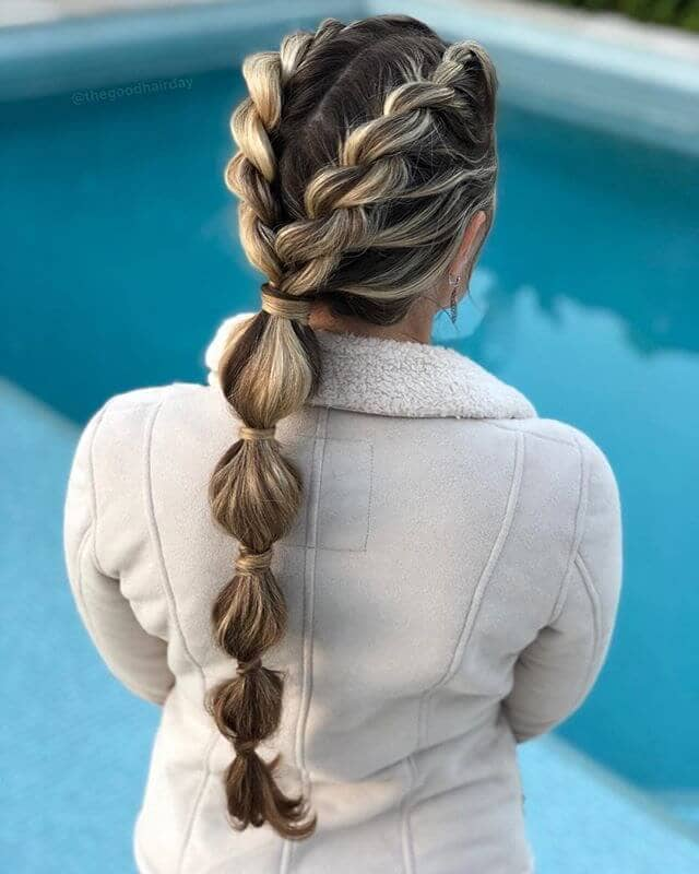 Twisted Dutch Braids and Bubble Ponytail