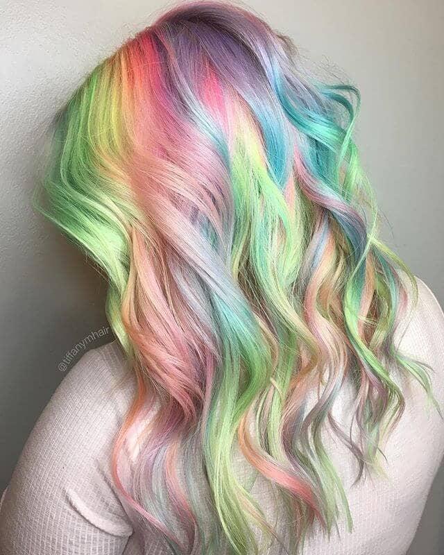 Strukturierte Pastell Rainbow Ringlets