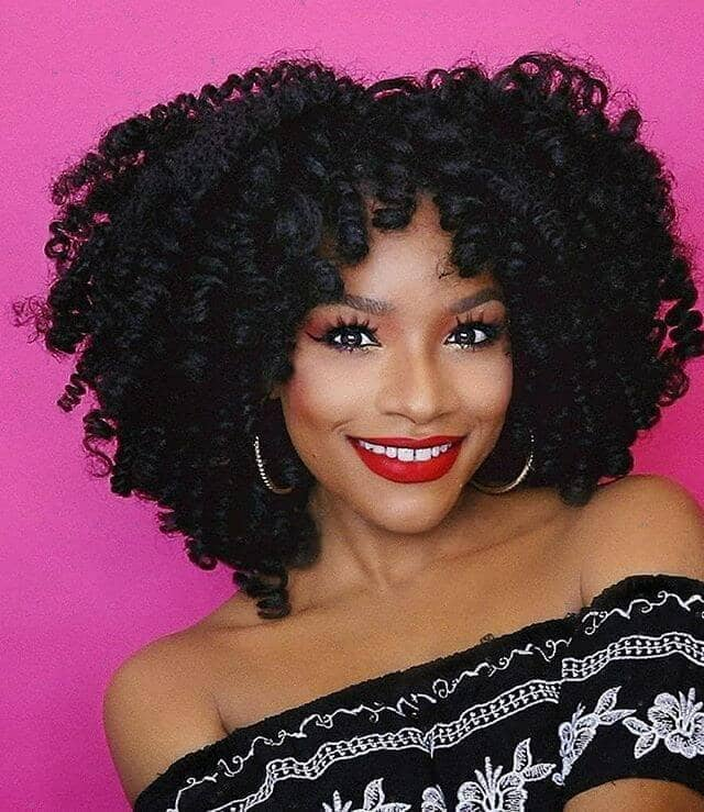 Curly Crochet Hair Short Afro with Short Bangs