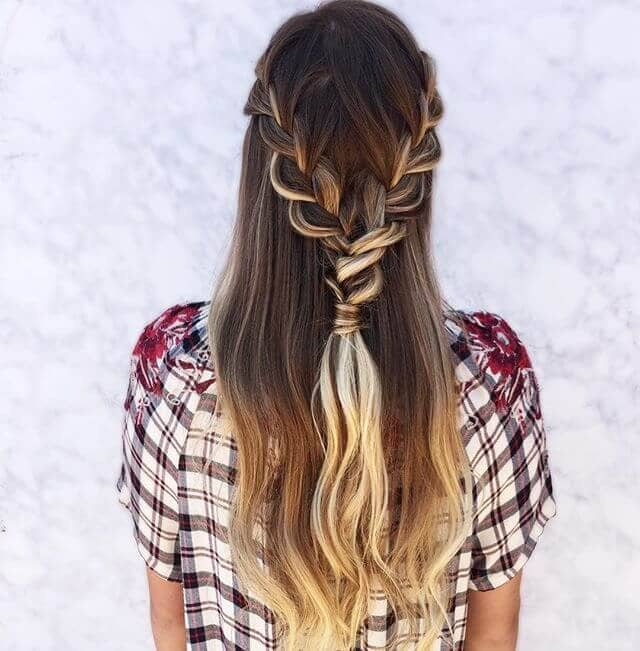 Lovely Double Half-Braided Amber and Blonde Ombre
