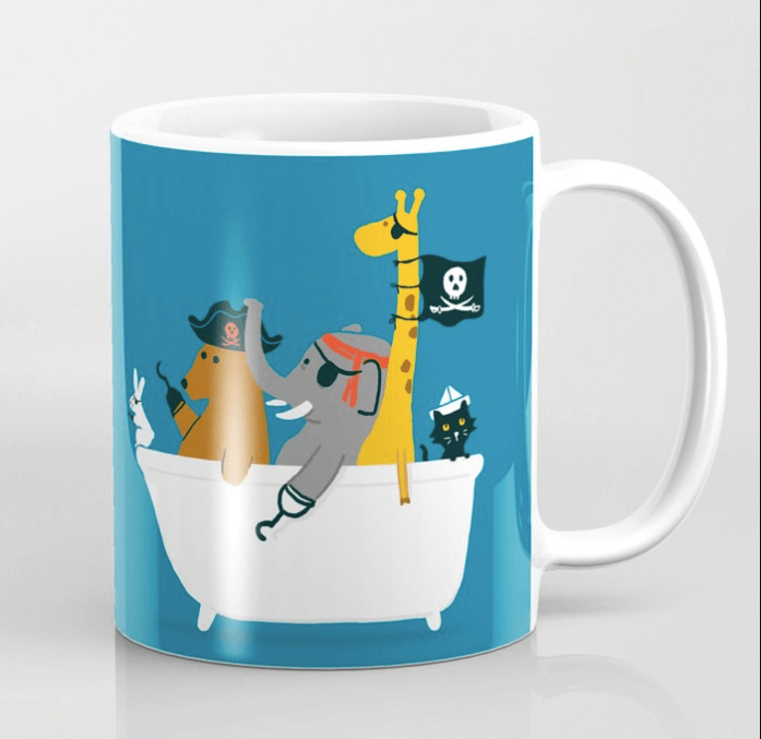 Adorable Pirate Coffee Cup with Fun Animals
