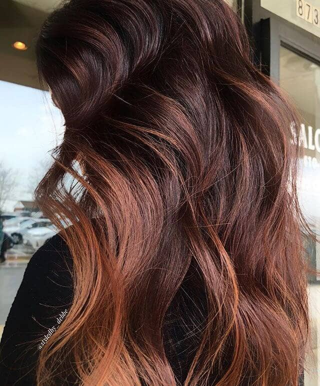 Dark Brunette with Copper and Amber Waves