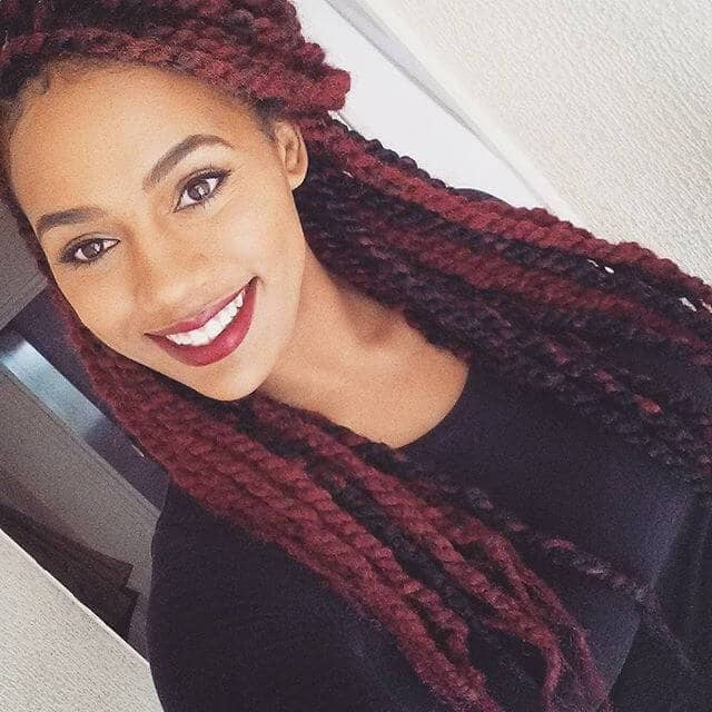 Pretty Maroon and Black Hair Braids