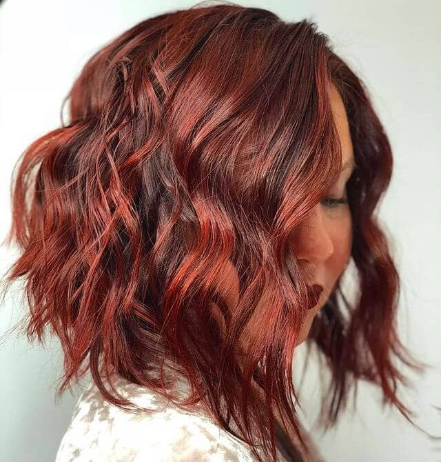 Tousled Angled Bob with Striking Cinnamon Highlights