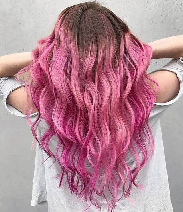 Bold Hot Pink Colored Ombre
