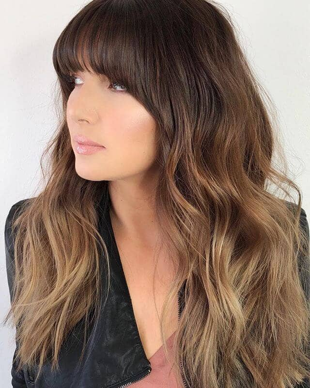Cute Bangs with Chesnut and Golden Blonde Ombre