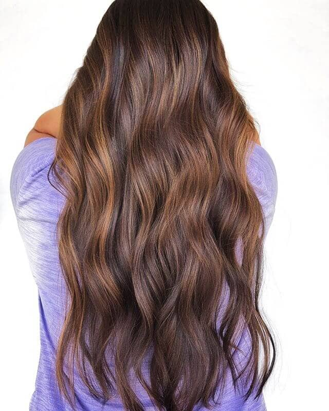 Long and Natural Brunette with Radiant Shimmering Hues
