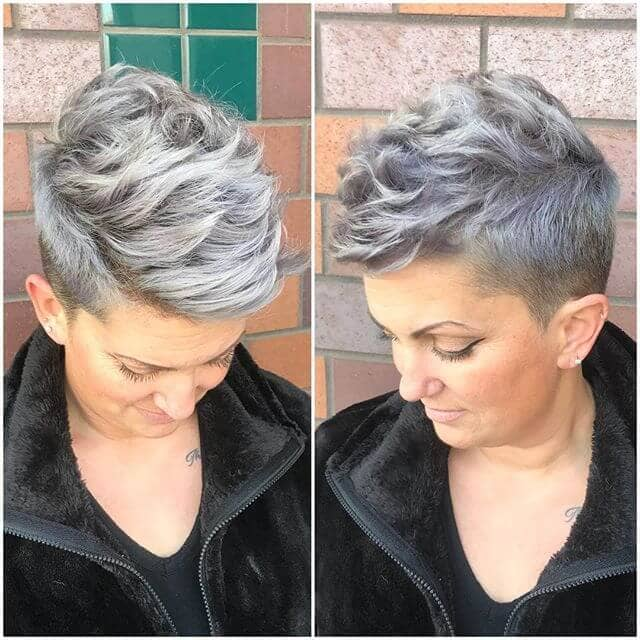 Trendy Gray Pixie With Cropped Sides