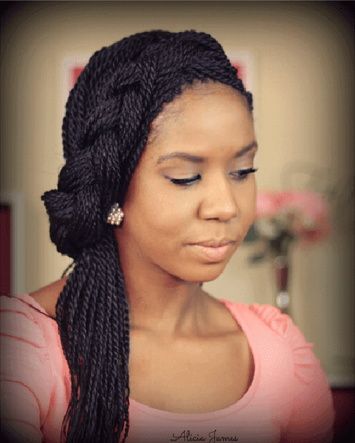 Fine Twist Braids in Crown Braid Up-Do