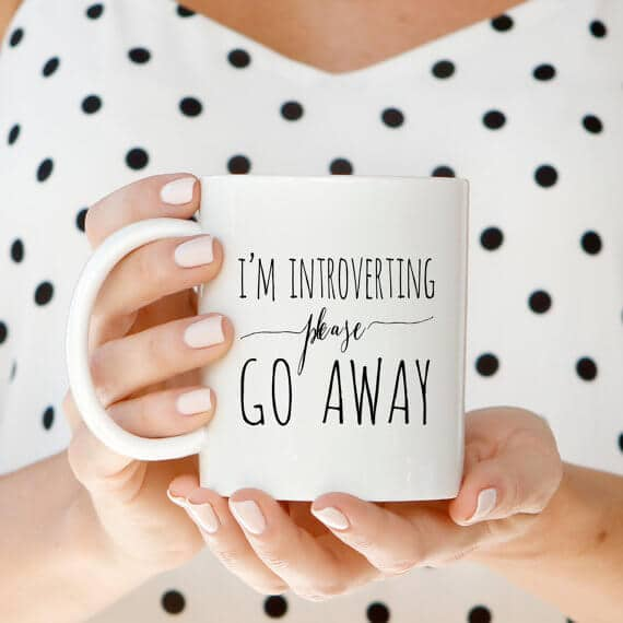 "Introverts ""Go Away"" Coffee Cup Design"