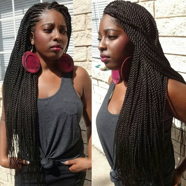Twist Cornrows With Side Part Style