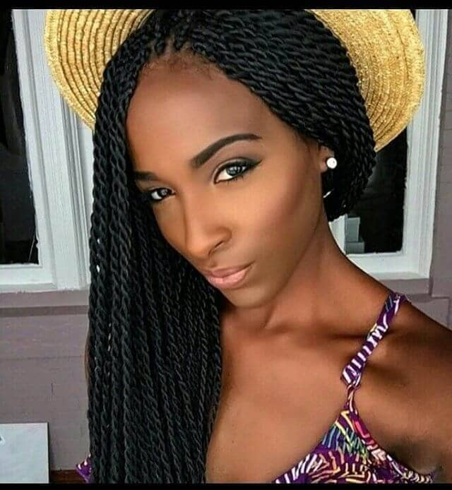 Long Twist Black Hairstyle for Summer