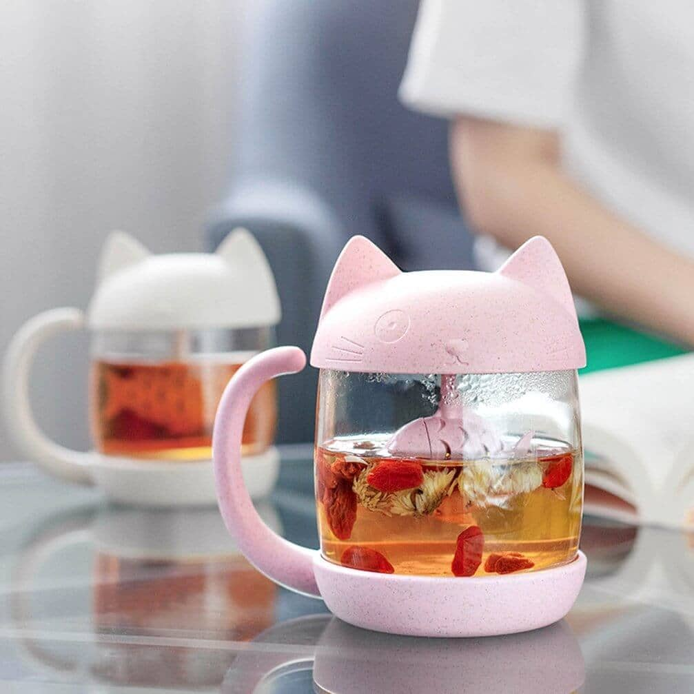 Adorable Tea Mug with Cat and Fish
