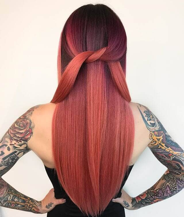 Rose Gold Hue with Dark Brown