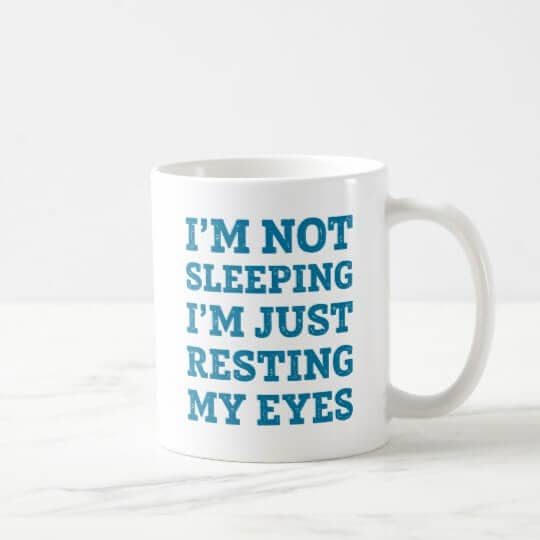 Eyes Resting Coffee Cup Design